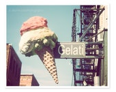 Gelati Ice Cream Cone Photograph, Boston Photography, Retro wall décor, pink pastel, Little Italy, whimsical kitchen art, New England, Cafe