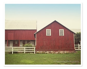 Red Barn Photography, Rustic Photograph, Farm Landscape, Cottage Farmhouse Wall Decor, Shabby Chic, Red Barn Picture, Rustic Decor