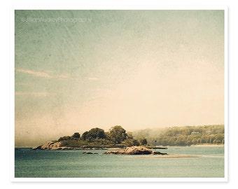 Beach Landscape Photography, Nautical Coastal Decor, sea photograph, Teal Blue Vintage Style, North Shore, Serene fog ocean art print