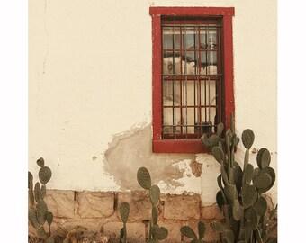 Southwestern Photography, Window Photograph, Arizona, Red Window Photograph, rustic décor, southwest, Tucson photography, cactus