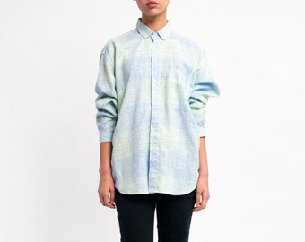 The Vintage Baby Blue Pastel Plaid Button Up Shirt