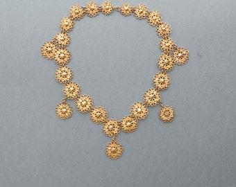 Antique Filigree Necklace. Gilt Floral Brass.