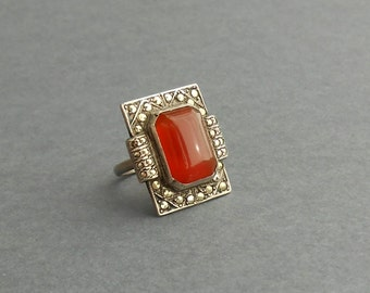 Art Deco Sterling Ring. Bold Carnelian with Marcasites.