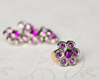 5 Purple Rhinestone Buttons - Purple Flower Button - Christine Button - 14mm - Plastic Buttons - Acrylic Buttons