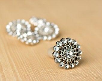 Clear Rhinestone Button - 5 - Acyrlic Rhinestone Buttons - Chloe Button - 26mm - Plastic Buttons - Acrylic Buttons