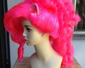 SALE Pinkie Pie Hot Pink Mohawk Costume Wig with Ears and Optionsl Tail - My Little Pony Friendship is Magic