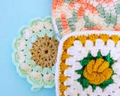 Set of 3 Vintage Crocheted Potholders / Bright Vintage Trivets / Colorful Crocheted Potholders / Colorful Kitchen Decor