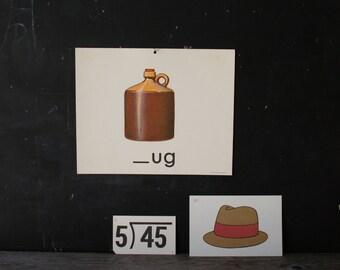 Flash Card Illustration  Set Jug Hat And Division Jug is Poster Size Vintage From Nowvintage on Etsy
