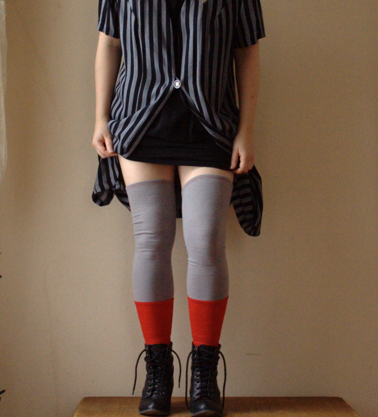 Thigh High Leg Warmers. Above The Knee. Color Block Grey And