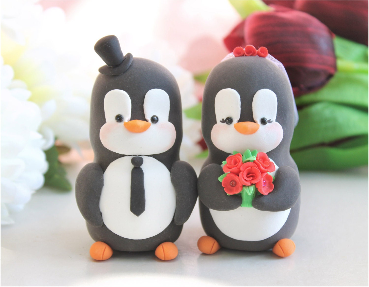 Custom Penguin cake toppers wedding LARGER size by PassionArte