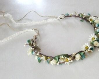 Woodland Hair Wreath, lace twine tie Bridal Venetian Goddess Flower crown hair garland head wreath barn wedding accessories bridal headpiece