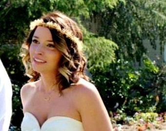 Woodland Bridal Floral Crown Dried flowers Babys Breath Hair Wreath spring flower girl Halo Barn Wedding accessories