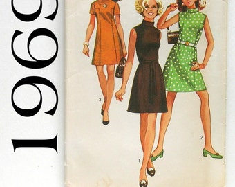 Classic 60's Short Sleeve or Sleeveless Dress - Simplicity 8588 - Size 12 Vintage Sewing Pattern