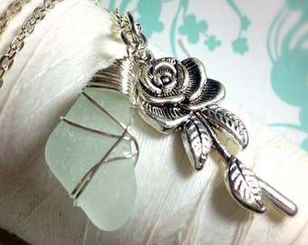 A Rose Without Thorns - rose necklace / silver rose necklace / sea glass necklace / long charm necklace / rose pendant / flower necklace