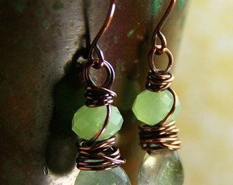 Spring Rain Collection - Fluorite Drops with Mystic Green Wire Wrapped Earrings