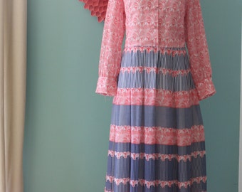 Vintage Red and Blue Lined Maxi Dress