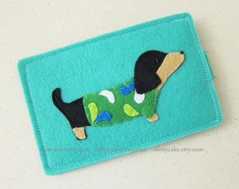 Custom Size Felt Weenie Dog iPhone Case, Cell Phone Sleeve, Felt Phone case, Handmade cell phone purse, dog case, iPhone 7 case