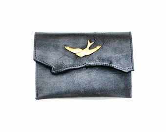 Swallow Bird Leather Clutch - Black Raw Edge Leather Clutch with Gold Sparrow Bird
