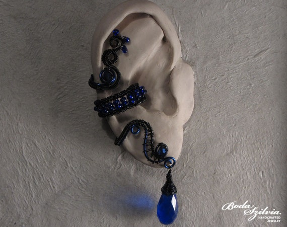 NYX - wire wrapped ear cuff - blue and black