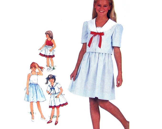 Girls Sailor Collar Jacket & Sundress Sewing Pattern Simplicity 5858 Dress Size 7