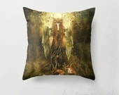 Forest Spirit Dryad Cushion Cover, Earth Mother Faerie Tree Woman Pillow Slip