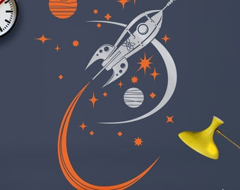 rocket ship wall decal, mid century space ship vinyl art, retro rocket sticker art, boys room, girls room, FREE SHIPPING