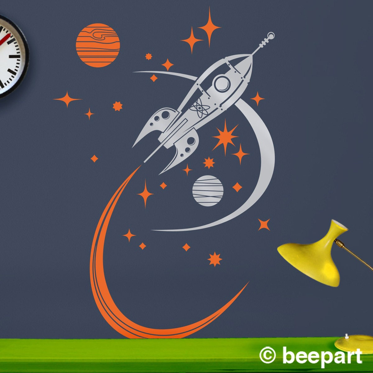rocket ship wall decal mid century space ship