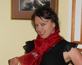 SALE--Organza Red scarf for any occasion