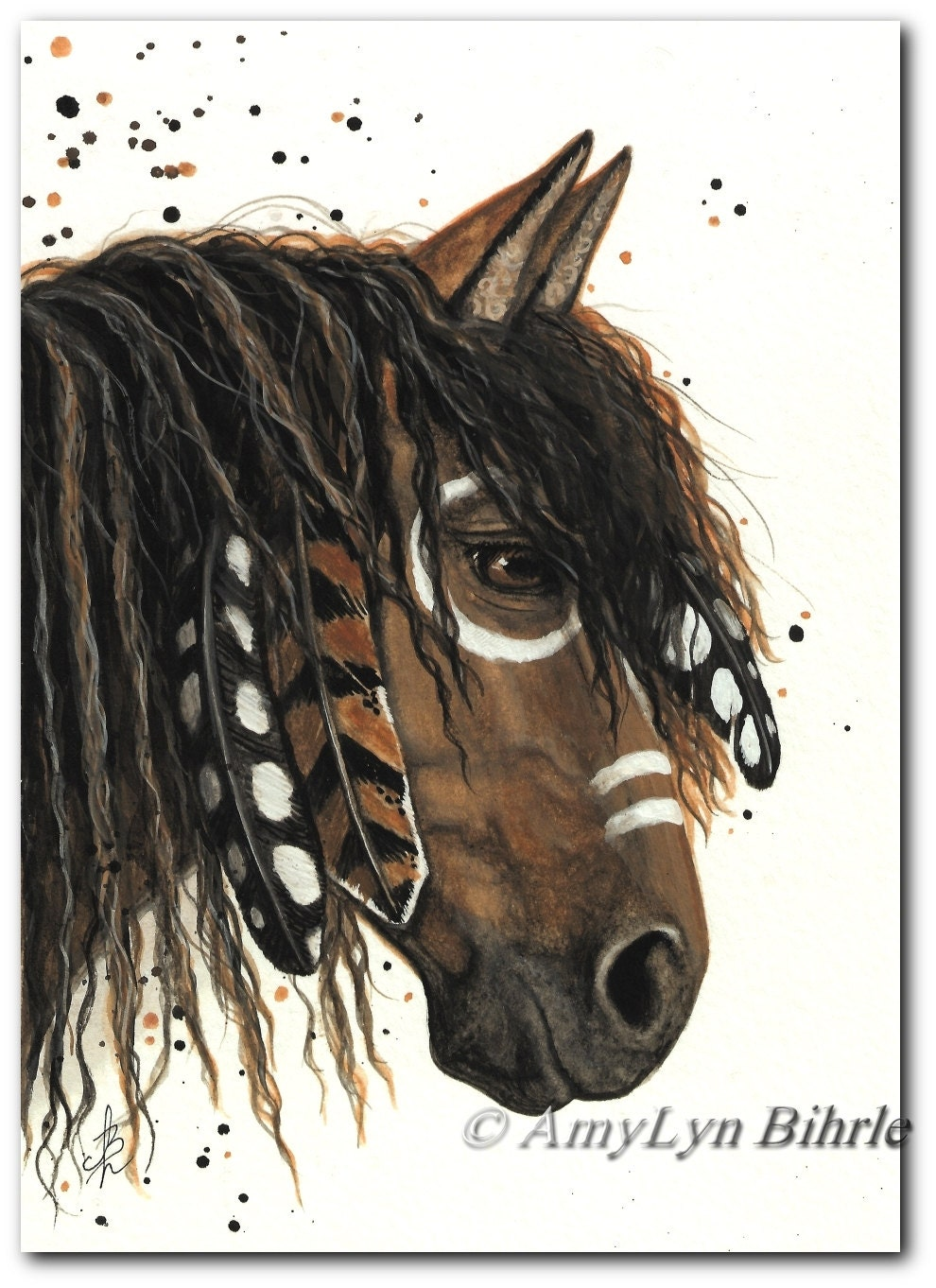 Majestic Horses Friesian Paint Native Feathers Art Prints