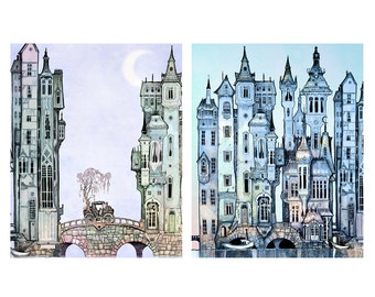 Print Set Victorian City  - giclée Fantasy Art Print  - Wall Art - Steampunk Art PRINT  - blue - silver - twilight  - Fairy Tale Art