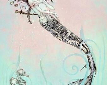 Sleeping Mermaid Print  - Nautical Seahorse Fantasy WALL Art  Print - giclée Fantasy Art Print -  Pink -Turquoise - Seahorse