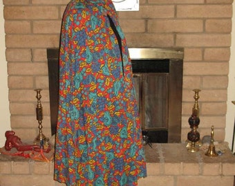 Bright Harvest Pattern Vintage Fabric Hooded Cloak with Antique Button
