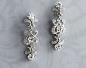 "Vintage Style bridal Earrings, Victorian Bridal Earrings, Wedding Earrings, Mini-Chandelier Earrings, Ornate Earrings - ""CHERI"""