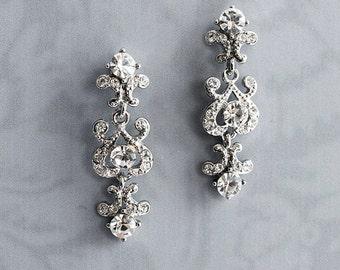 "Vintage Style bridal Earrings, Wedding Small Chandelier Earrings, Wedding Earrings, Mini-Chandelier Earrings, Antique Style - ""CHERI"""