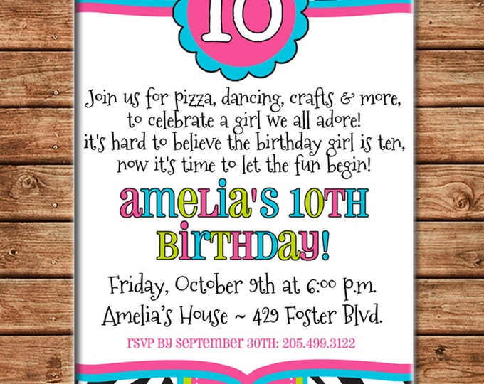 Girl Invitation Tween Teen Zebra Print Birthday Party - Can personalize colors /wording - Printable File or Printed Cards