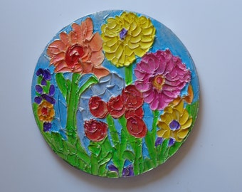 Original Textured Floral Painting on 10in Round Canvas Beautiful Colors Metallics Heather Montgomery Art