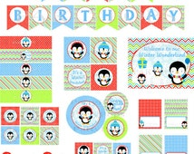 Penguin Party, Penguin Party Package, Winter Onederland Party, Winter Wonderland Party, Penguin, Printable, Boy, INSTANT DOWNLOAD