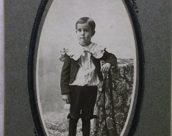 Darling Little Boy - Fancy Suit - Ruffles - Boots - Stripes - Bows - Antique Cabinet Photo