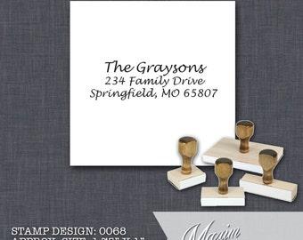 Wood Handle Rubber Stamp - Address Stamp, Gifts for Wedding, Housewarming, Etsy Labels, Return Address Stamp, Christmas Card - Design 0068