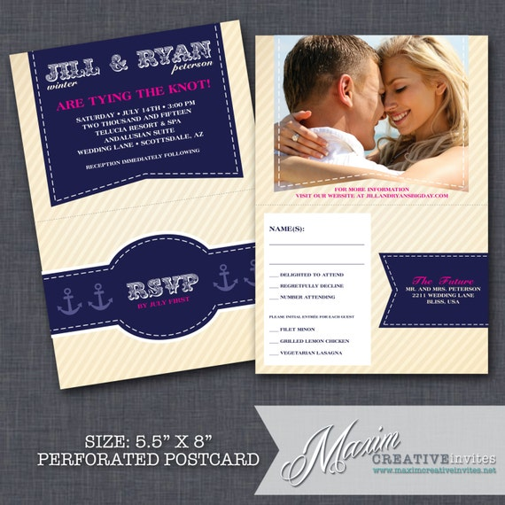 Nautical Wedding Invitation With Perforated Rsvp Postcard