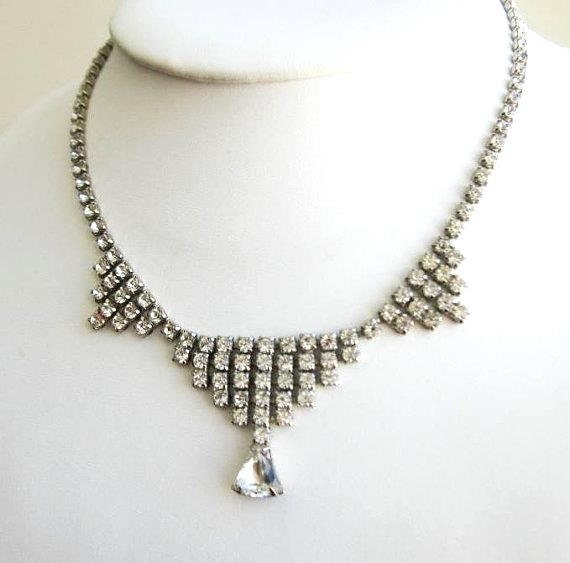 Vintage Necklace diamante rhinestones collerette style with dangle 1950s