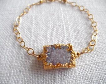 Squre Purple druzy bracelet - gray purple druzy - gold bracelet - purple bracelet - D R U Z Y 300