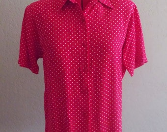 Vintage 80s RED POLKA Dot Blouse • Size Medium
