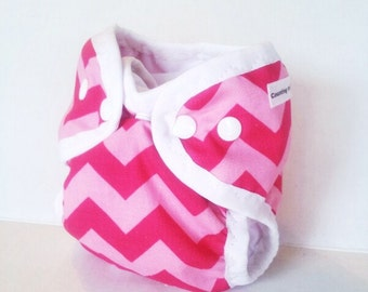 Pink Chevron Cloth Diaper for Baby, AI2 style with or without absorbent stay dry liner, Reusable cloth nappy