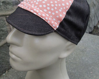 Cycling Cap -  Polkadot and Pinstripe (Medium)