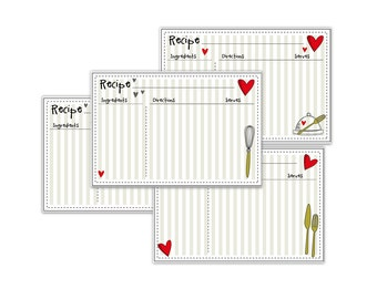 Kitchen Rustic Recipe Cards printable 4x6 Type & Print No 880