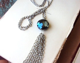 Long Tassel Necklace faceted Glass Stone and silver Multi Chain Smokey Blue