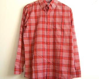 Men's Red Plaid Shirt // Cotton // Med // Vintage