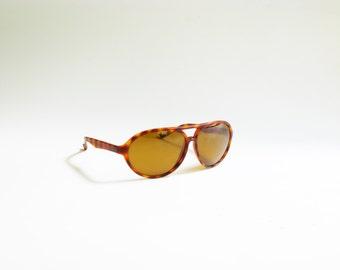 Vintage Plastic Tortoise Shell Aviator Sunglasses