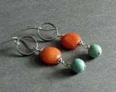 "Turquoise and Orange Gemstone Earrings, Jade, Magnesite, Oxidized Sterling Silver, Rustic Modern Circle Design, ""Brighten"""
